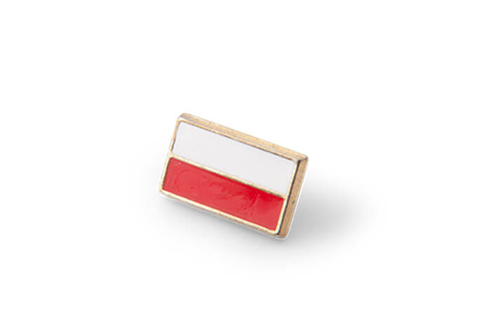 Smaltovaný odznaček s polskou vlajkou, vlastní smaltované odznaky na zakázku - výroba a prodej, vojenské, sportovní, skautské, hasičské odznaky