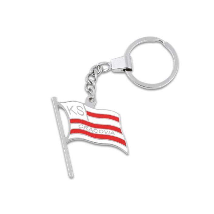 Schlüsselanhänger aus Metall mit einer in Weiß und Rot gestreiften Flagge und dem Namen KS Cracovia