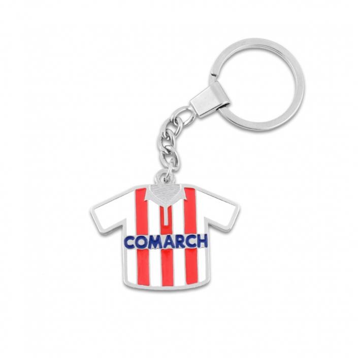 Fußballspieltrikot des Fußballvereins Cracovia mit Sponsorennamen - Metall-Schlüsselanhänger mit einem Ring