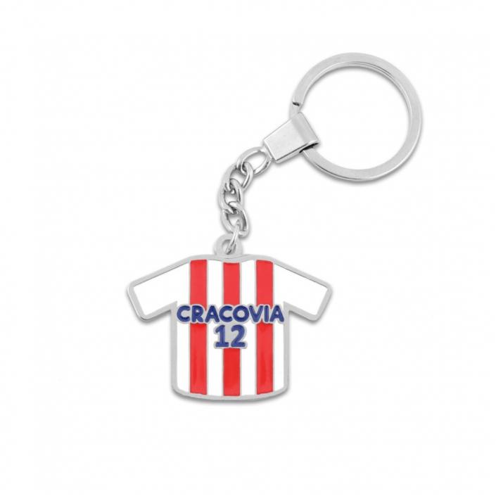 Schlüsselanhänger aus Metall mit einem Ring in Form des Vereinstrikots von Cracovia Kraków mit dem Namen des Sponsors und der Nummer des Spielers