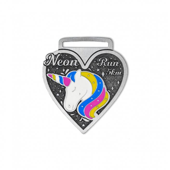 Bunte Sportmedaillen, emailliert mit Einhorn, Unicorn-Medaille, von MCC Metal Casts
