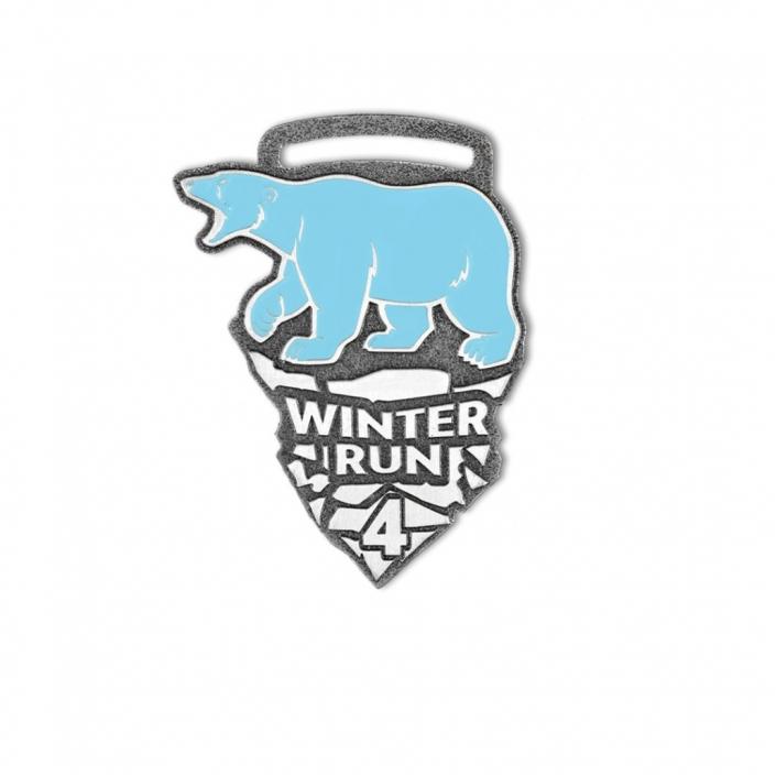 Sportmedaillen auf Bestellung, Winterlauf 4,5 km, emailliert, farbig auf Bestellung vom Hersteller - MCC Metal Casts